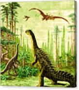Stegosaurus And Compsognathus Dinosaurs Canvas Print