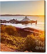 Steilacoom Ferry Dock At Sunset Canvas Print