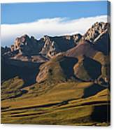 Steppe Valley With Surrounding Peaks Canvas Print