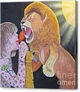 Steven Tyler Versus Lion Canvas Print
