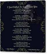 Stevie Wonder Gold Scrolled Called To Say I Love You Canvas Print