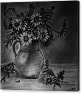 Still Life Clay Pitcher With 13 Daisies Canvas Print