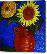 Still Life Clay Vase With Two Sunflowers Canvas Print