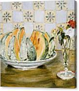 Still Life Of A Melon And A Vase Of Flowers Canvas Print