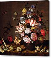 Still Life Of A Vase Of Flowers Canvas Print