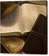 Still Life Of Bible With Hat And Journal Canvas Print