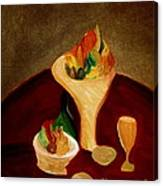 Still Life On A Red Table Canvas Print