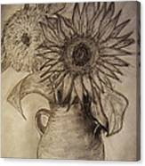 Still Life Two Sunflowers In A Clay Vase Canvas Print