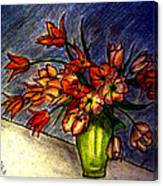 Still Life Vase With 21 Orange Tulips Canvas Print