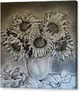 Still Life - Vase With 6 Sunflowers Canvas Print