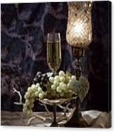 Still Life Wine With Grapes Canvas Print