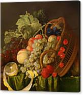 Still Life With A Basket Of Fruit Canvas Print