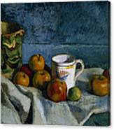 Still Life With Apples Cup And Pitcher Canvas Print