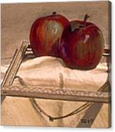 Still Life With Apples In An Old Frame Canvas Print