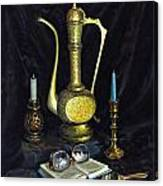 Still Life With Brass Vase And Book Canvas Print