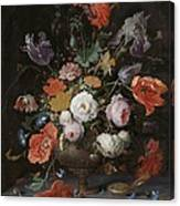 Still Life With Flowers And Watch Canvas Print