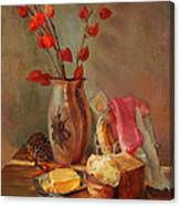Still-life With Fresh Bread And A Knife Canvas Print