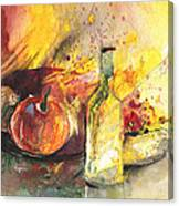 Still Life With Fruits And Flowers And Bottle Canvas Print