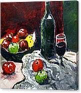 Still Life With Fruits And Wine Canvas Print