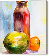Still Life With Jug And Fruit Canvas Print