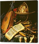 Still Life With Musical Instruments Oil On Canvas Canvas Print