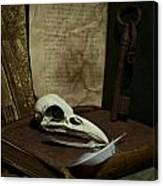 Still Life With Old Books Rusty Key Bird Skull And Feathers Canvas Print