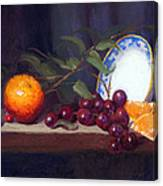 Still Life With Orange And Grapes Canvas Print
