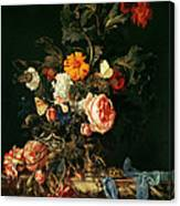 Still Life With Poppies And Roses Canvas Print