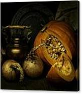 Still Life With Pumpkin And Onions Canvas Print