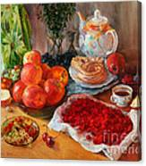 Still Life With Raspberries And Apples Canvas Print