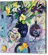 Still Life With Turquoise Bottle Canvas Print