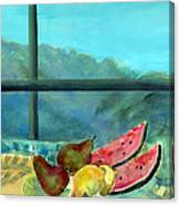 Still Life With Watermelon Oil & Acrylic On Canvas Canvas Print