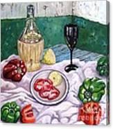 Wine And Capsicum Canvas Print