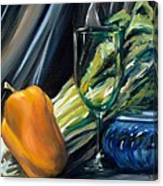 Still Life With Yellow Pepper Bok Choy Glass And Dish Canvas Print