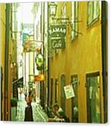 Stockholm City Cafe Canvas Print