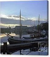 Stockholm City Harbor Dwan Canvas Print