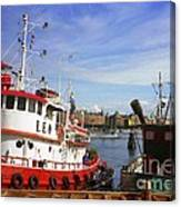 Stockholm Harbor Ships Canvas Print
