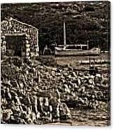 Roman Port Of Sa Nitja In Minorca - Stone And Sea Sephia Version Canvas Print