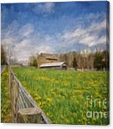 Stone Barn On A Spring Morning Canvas Print