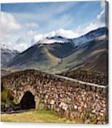 Stone Bridge In Mountain Landscape Canvas Print
