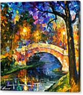 Stone Bridge - Palette Knife Oil Painting On Canvas By Leonid Afremov Canvas Print