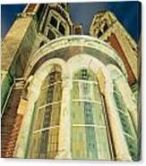 Stone Church Exterior Facade Windows At Night Canvas Print