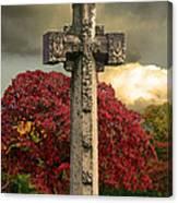 Stone Cross In Fall Garden Canvas Print