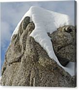 Stone Lion Covered With Snow Canvas Print