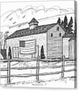 Stone Ridge Barn With Flag Canvas Print