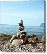 Stone Tower On The Beach Canvas Print