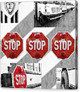 Stop For Students Painterly Bw Red Signs Canvas Print