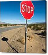 Stop Sign On Indian Ranch Road In Death Valley Canvas Print