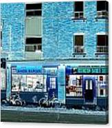 Stores On Ossington In Blue Canvas Print