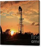 Storm Cloud's With Windmill Sillhouette Canvas Print